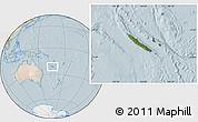 Satellite Location Map of New Caledonia, lighten