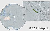Satellite Location Map of New Caledonia, lighten, semi-desaturated