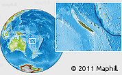 Satellite Location Map of New Caledonia, physical outside