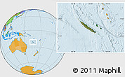 Satellite Location Map of New Caledonia, political outside