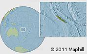 Satellite Location Map of New Caledonia, savanna style outside, hill shading