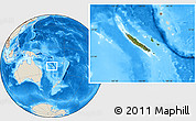 Satellite Location Map of New Caledonia, shaded relief outside