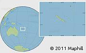 Savanna Style Location Map of New Caledonia, hill shading inside