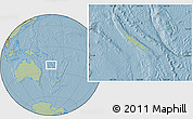 Savanna Style Location Map of New Caledonia, hill shading outside