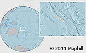 Shaded Relief Location Map of New Caledonia, gray outside, hill shading