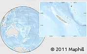Shaded Relief Location Map of New Caledonia, lighten