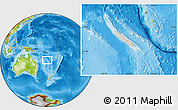 Shaded Relief Location Map of New Caledonia, physical outside