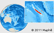 Shaded Relief Location Map of New Caledonia