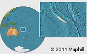 Shaded Relief Location Map of New Caledonia, satellite outside