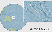 Shaded Relief Location Map of New Caledonia, savanna style outside, hill shading