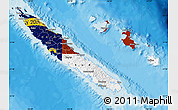 Flag Map of New Caledonia, political shades outside