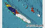 Flag Map of New Caledonia, satellite outside
