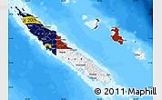 Flag Map of New Caledonia, single color outside, bathymetry sea