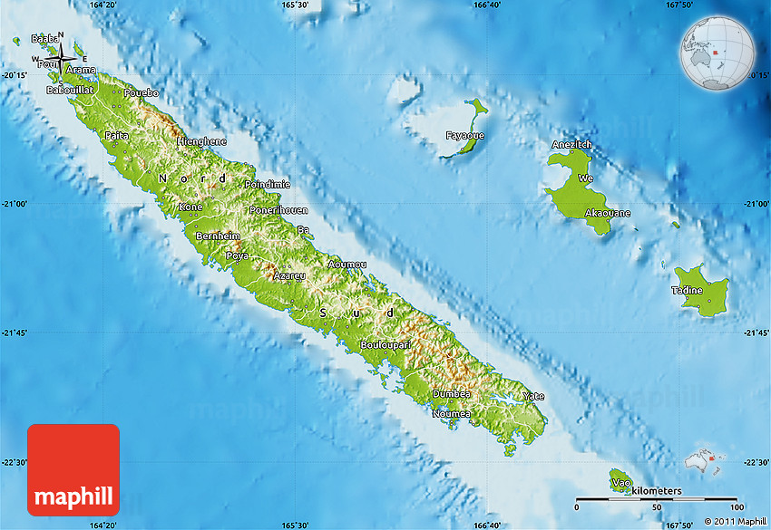 Physical Map of New Caledonia