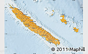 Political Shades Map of New Caledonia, lighten