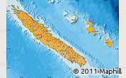 Political Shades Map of New Caledonia, satellite outside, bathymetry sea