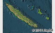 Satellite Map of New Caledonia, darken