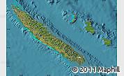 Satellite Map of New Caledonia, political shades outside, satellite sea