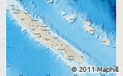 Shaded Relief Map of New Caledonia, political outside, shaded relief sea