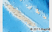 Shaded Relief Map of New Caledonia, political shades outside, shaded relief sea