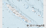Silver Style Map of New Caledonia, single color outside