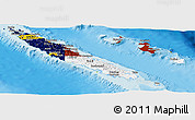Flag Panoramic Map of New Caledonia, physical outside