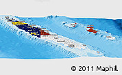 Flag Panoramic Map of New Caledonia, political outside