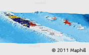 Flag Panoramic Map of New Caledonia, political shades outside