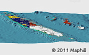 Flag Panoramic Map of New Caledonia, satellite outside