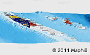 Flag Panoramic Map of New Caledonia, shaded relief outside