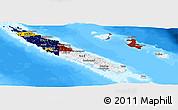 Flag Panoramic Map of New Caledonia, single color outside, bathymetry sea