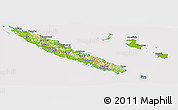 Physical Panoramic Map of New Caledonia, cropped outside