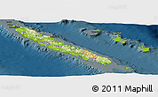 Physical Panoramic Map of New Caledonia, darken