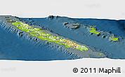 Physical Panoramic Map of New Caledonia, darken