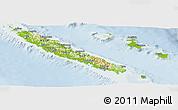 Physical Panoramic Map of New Caledonia, lighten