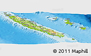 Physical Panoramic Map of New Caledonia, political outside, shaded relief sea