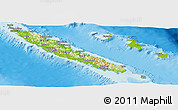 Physical Panoramic Map of New Caledonia, political shades outside, shaded relief sea