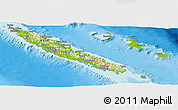 Physical Panoramic Map of New Caledonia, semi-desaturated, land only