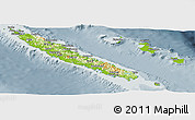 Physical Panoramic Map of New Caledonia, semi-desaturated