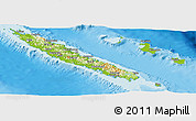 Physical Panoramic Map of New Caledonia, single color outside