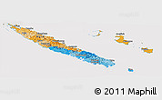 Political Panoramic Map of New Caledonia, cropped outside