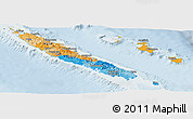 Political Panoramic Map of New Caledonia, lighten