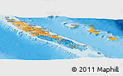 Political Panoramic Map of New Caledonia, physical outside