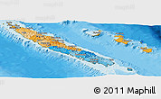 Political Panoramic Map of New Caledonia, satellite outside, bathymetry sea