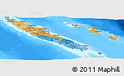 Political Panoramic Map of New Caledonia, semi-desaturated, land only