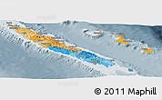 Political Panoramic Map of New Caledonia, semi-desaturated