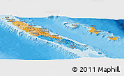 Political Panoramic Map of New Caledonia, shaded relief outside, bathymetry sea