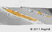 Political Shades Panoramic Map of New Caledonia, desaturated