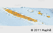 Political Shades Panoramic Map of New Caledonia, lighten