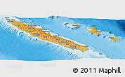Political Shades Panoramic Map of New Caledonia, physical outside